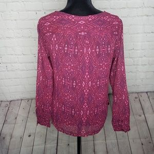 American Eagle Outfitters Tops - American Eagle Sheer Pink Geometric Print Top